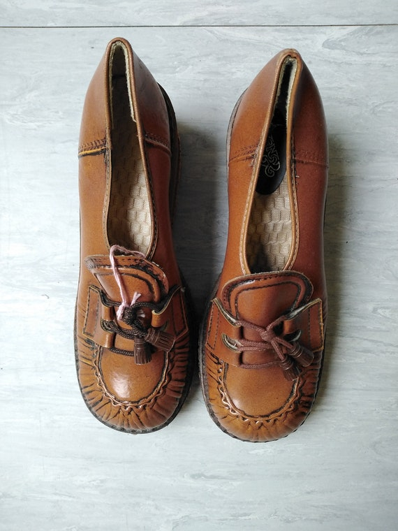 Vintage 70s Chestnut Brown Vegan Platforms UK Size