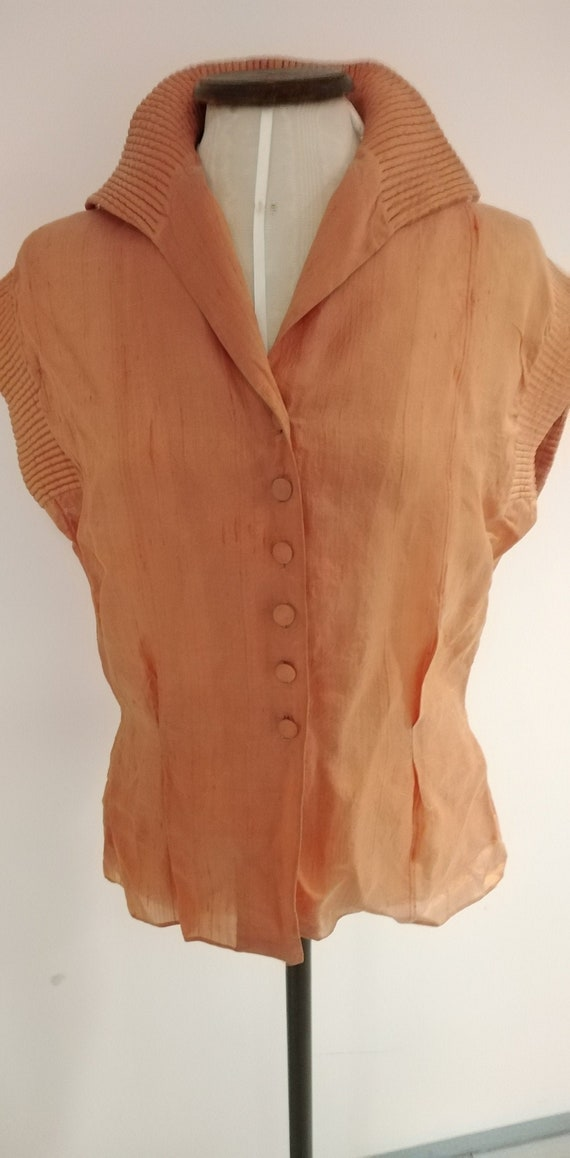 Vintage 30s/50s Peach Silk Blouse