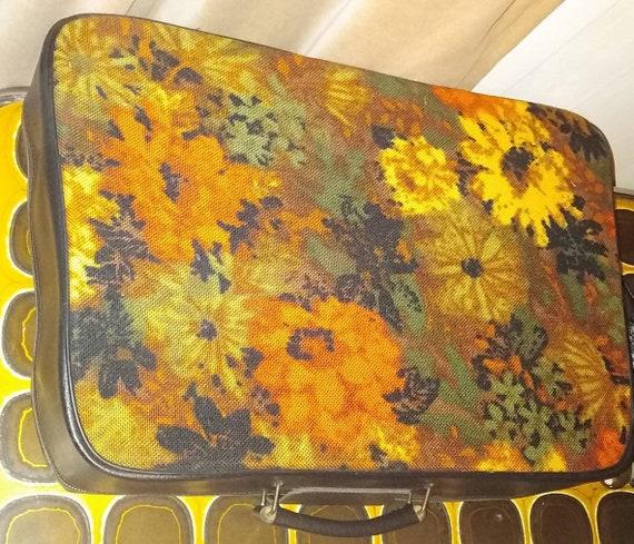 Vintage 70s Orange Floral Tapestry Suitcase