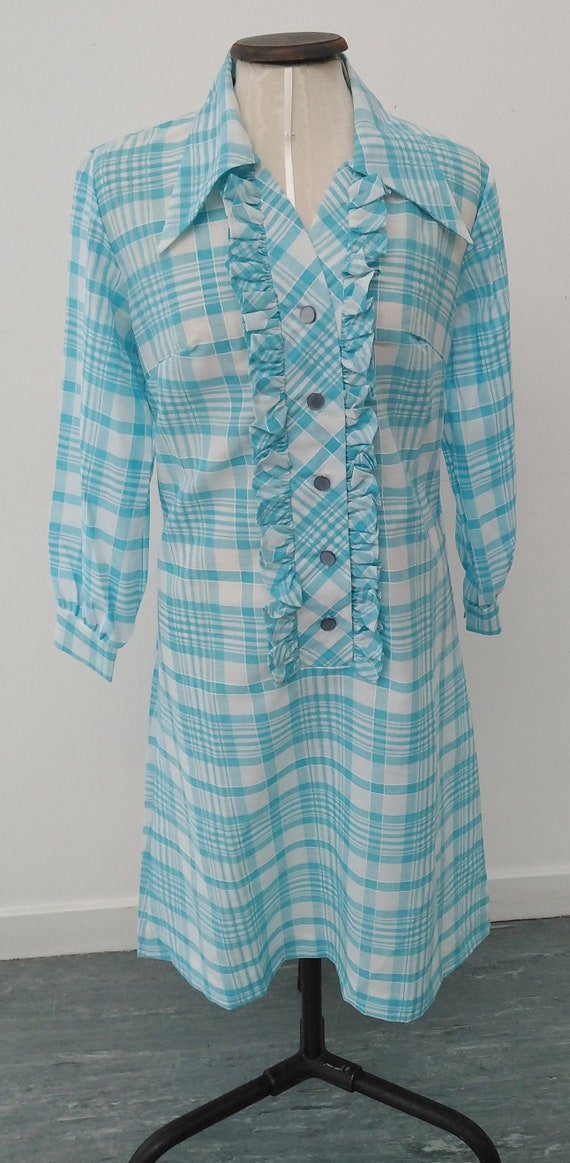 Vintage 60s Blue and White Checked Shirt Dress by