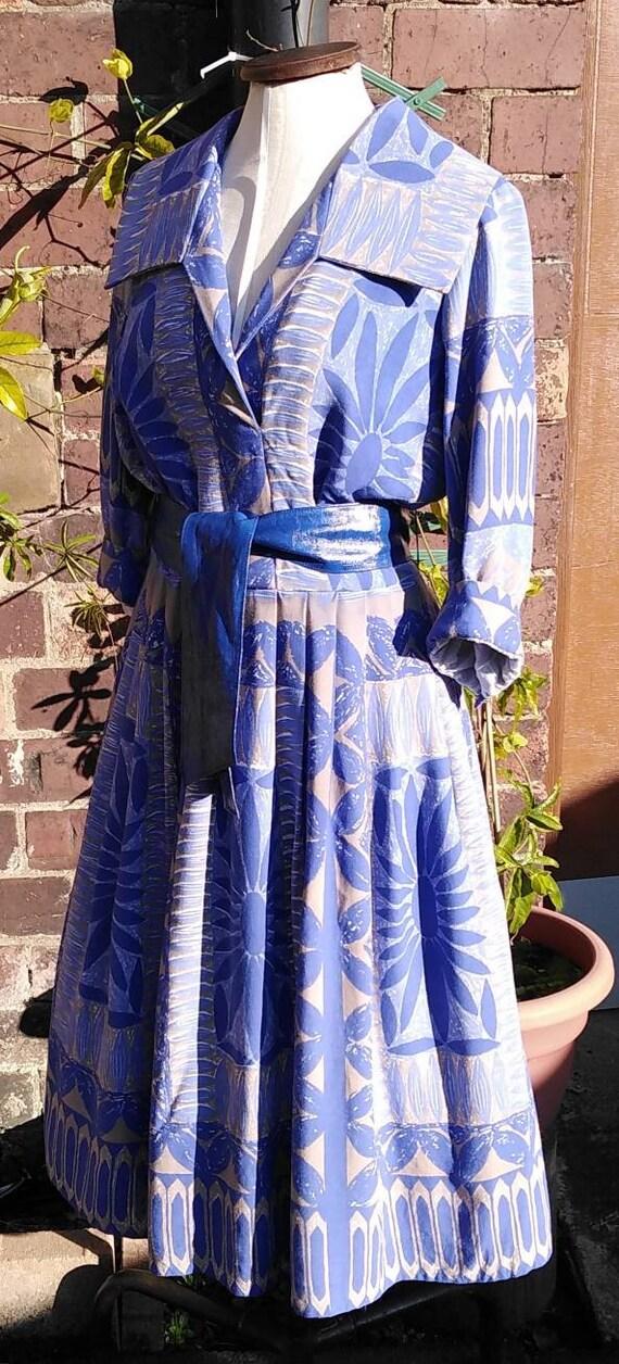 Vintage 50s Floral Novelty Print Dress - image 5