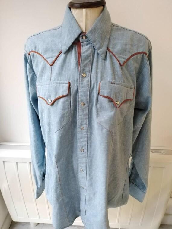 Vintage 50s Rockmount Denim Western Shirt - image 1