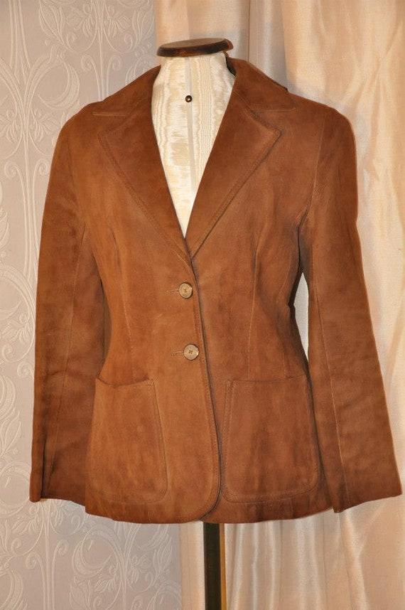 Vintage 70s Cognac Suede Jacket
