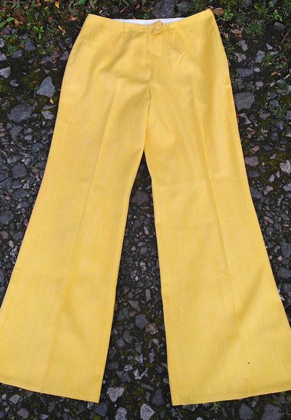 Vintage 60s Yellow Herringbone Flared Trousers