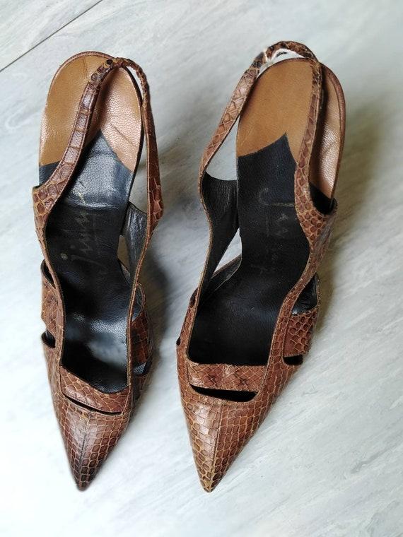 Vintage 50s Snakeskin Slingback Heels