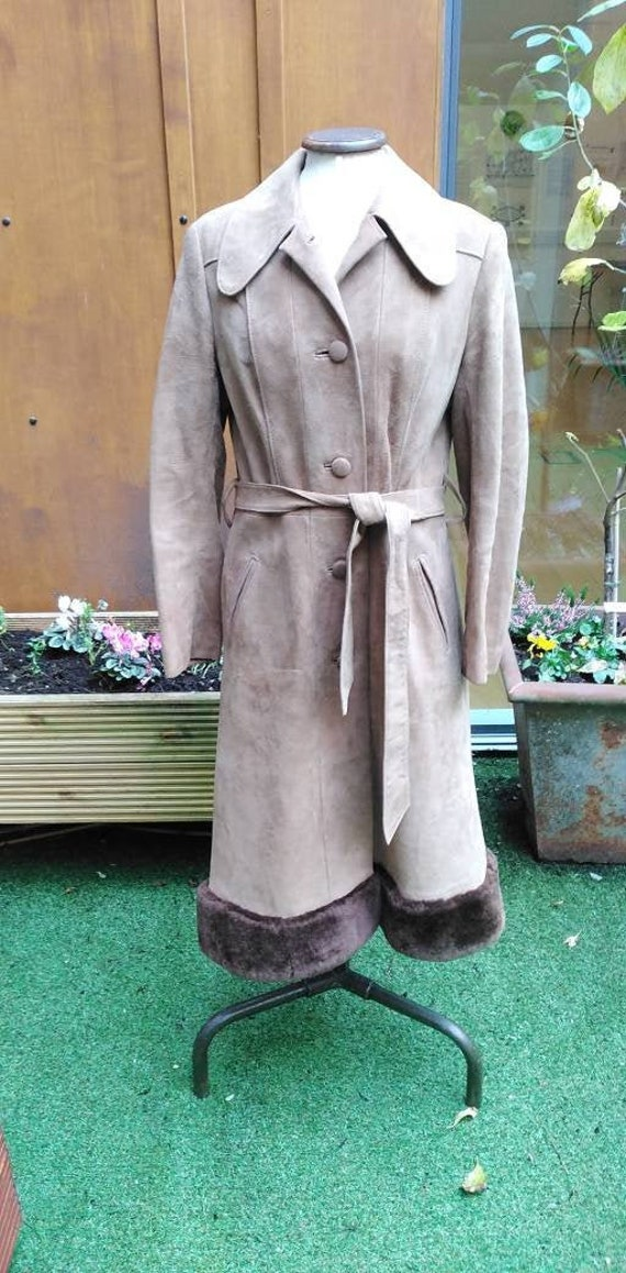 Vintage 70s Suede and Fake Fur Coat