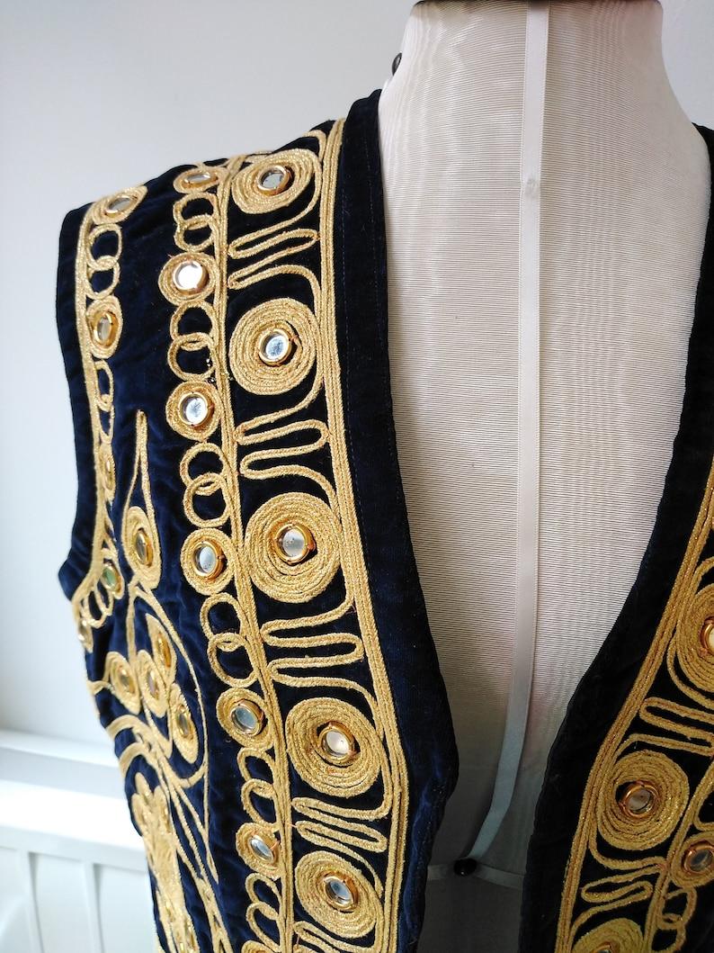 Vintage 60s70s Unisex Velvet Eastern Style Waist Coat