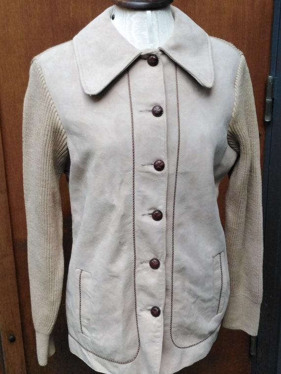 Vintage 60s Cream Suede Mod Cardigan