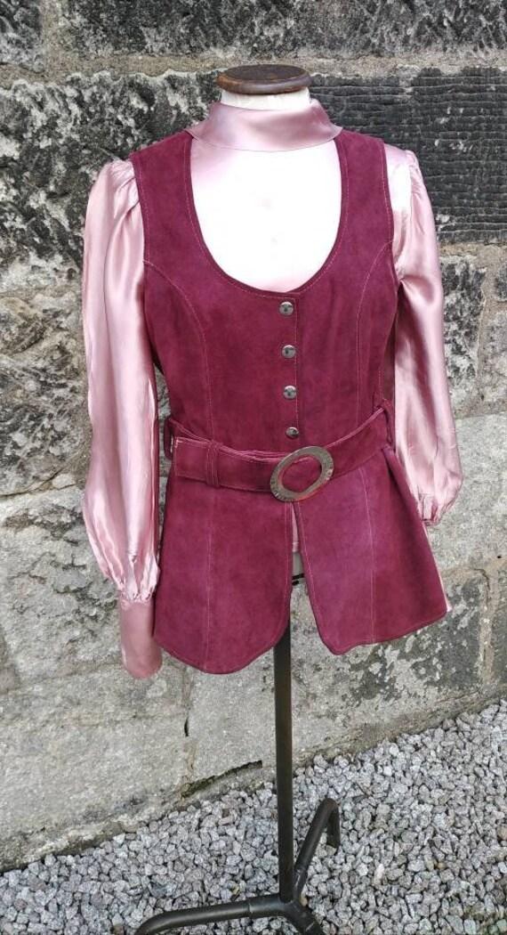 Vintage 60s Purple Suede Waistcoat