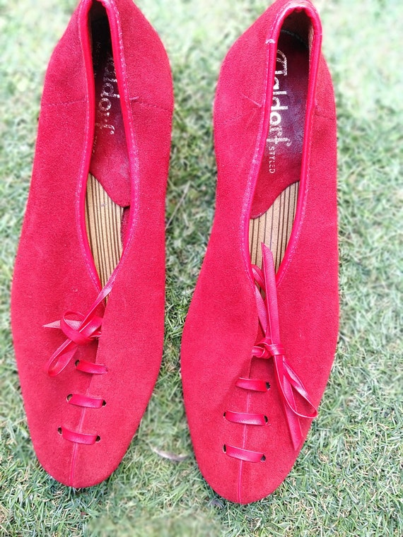 Vintage 60s Italian Red Suede Mod Shoes Size 3