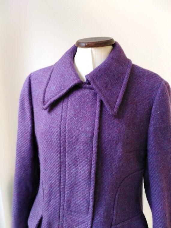 Vintage 60s Purple Wool Mod Trouser Suit
