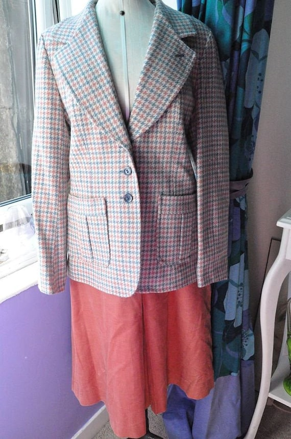 Vintage 70s Salmon and Blue Blazer and Skirt Suit