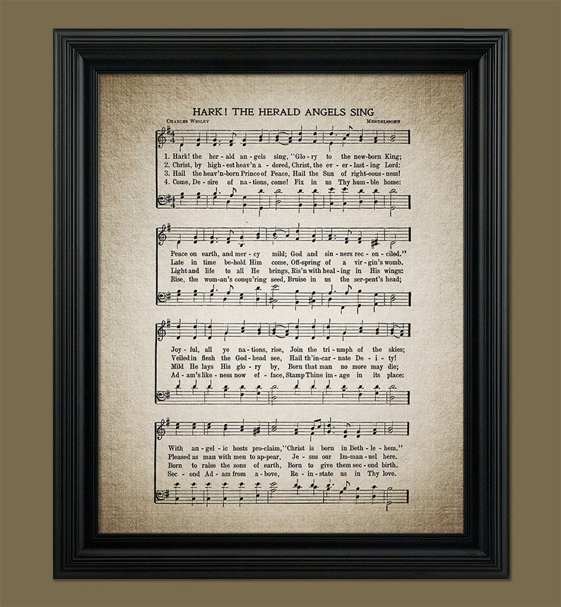 Hark The Herald Angels Sing Christmas Song Print Christmas | Etsy