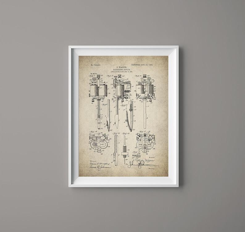 79060166a40e7 Vintage Tattoo Machine Patent Print Tattoo Pen Tattoo   Etsy
