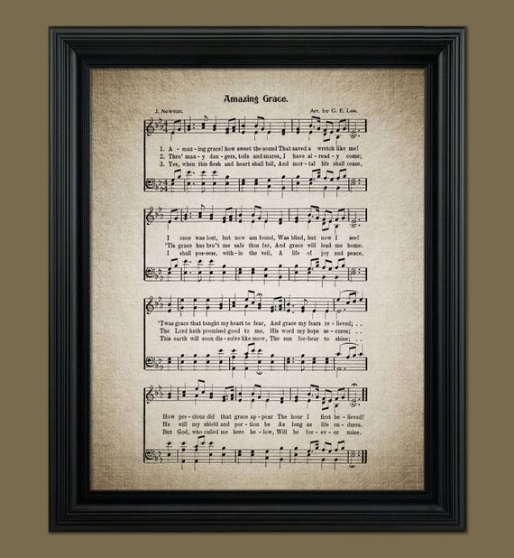 Amazing Grace Hymn Print Sheet Music Art Hymn Art Hymnal Etsy