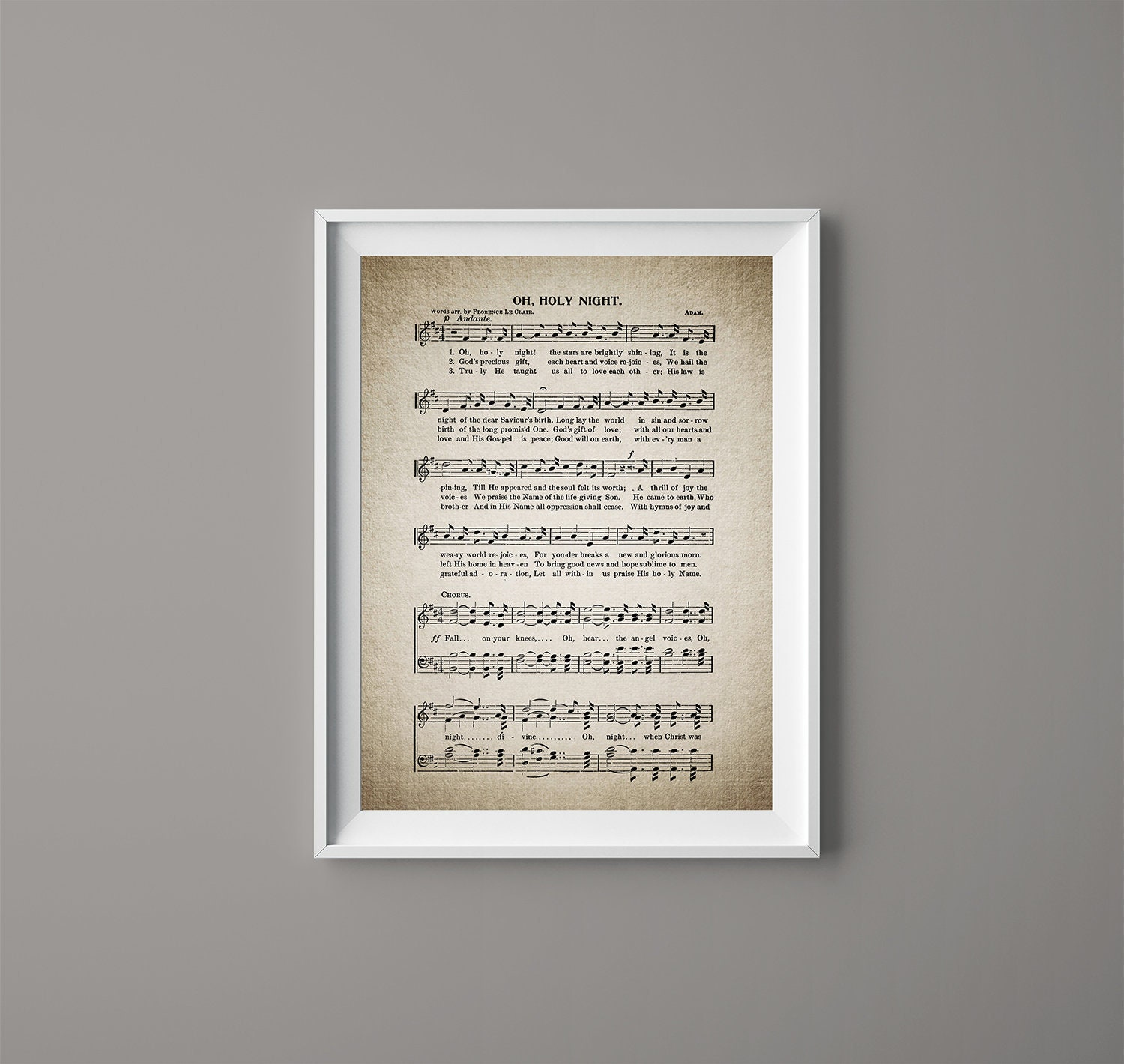 Oh, Holy Night Christmas Song Print - Christmas Sheet - Sheet Music- Home  Decor - Inspirational Art - Gift - Instant Download - #HYMN-029