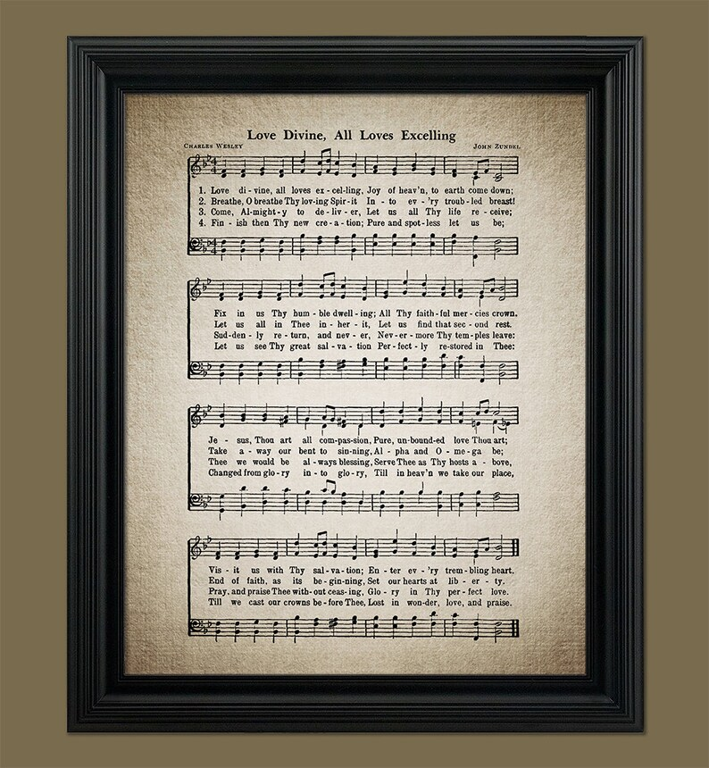 Love Divine, All Loves Excelling Hymn Print - Sheet Music Art - Hymn Art -  Home Decor - Inspirational Art - Instant Download #HYMN-050