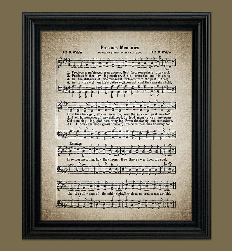 Precious Memories Hymn Print - Gospel Music - Funeral Song - Sheet Music -  Home Decor - Inspirational Art - Instant Download - #HYMN-065