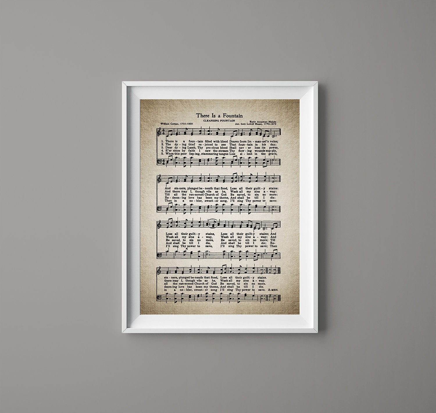 There is a Fountain Hymn Print - Sheet Music Art - Hymn Art - Hymnal Sheet  - Home Decor - Music Sheet - Gift - Instant Download - #HYMN-074