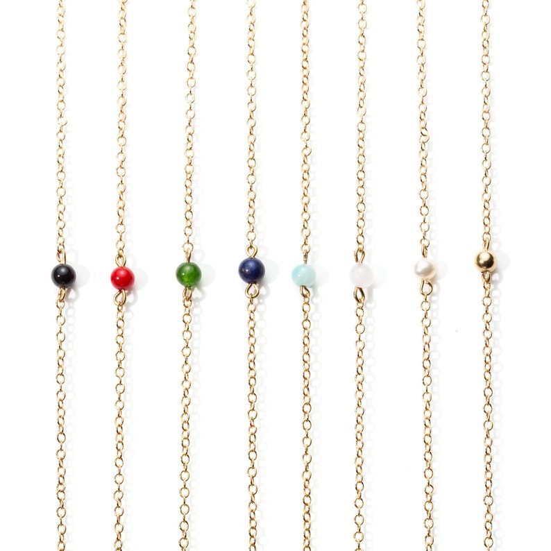 Fine gold necklace with brass and black agate beads  Stacking necklaces  24 carats fine gold chain  New collection