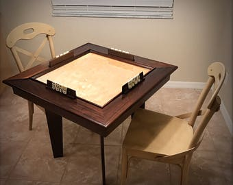 Solid  Wood Poplar Domino Table Expresso Finish