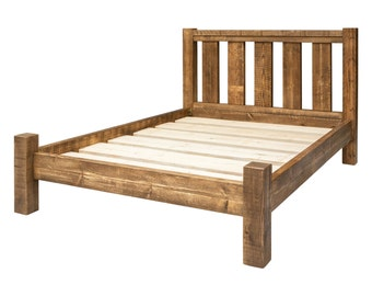 Solid Wooden Chunky Bed Frame In A Choice Of Sizes Single Etsy