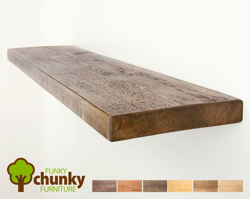 Zwevende Plank 90 Cm.Rustieke Zwevende Planken Muur Montage Massief Houten Plank Etsy