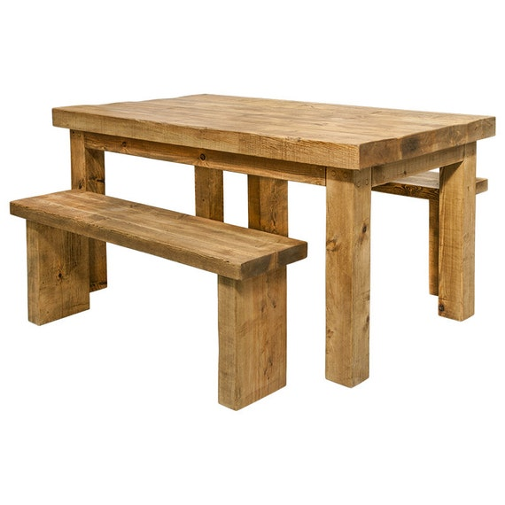 Dining Table And Benches Made From Solid Chunky Pine With