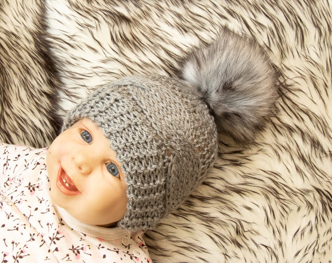 Gray baby hat - Faux fur pom pom hat - Cable knit hat - Hand knitted Hat - Kids hat- Baby winter hat- Newborn hat- Baby boy hat- Knit beanie