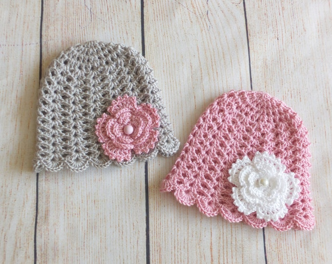 Twin Baby Girl Hats - Crochet Twin hats - Gray and Pink - Twin Newborn Hats - Twin photo prop - Twin Baby Hats - Gifts for Twins