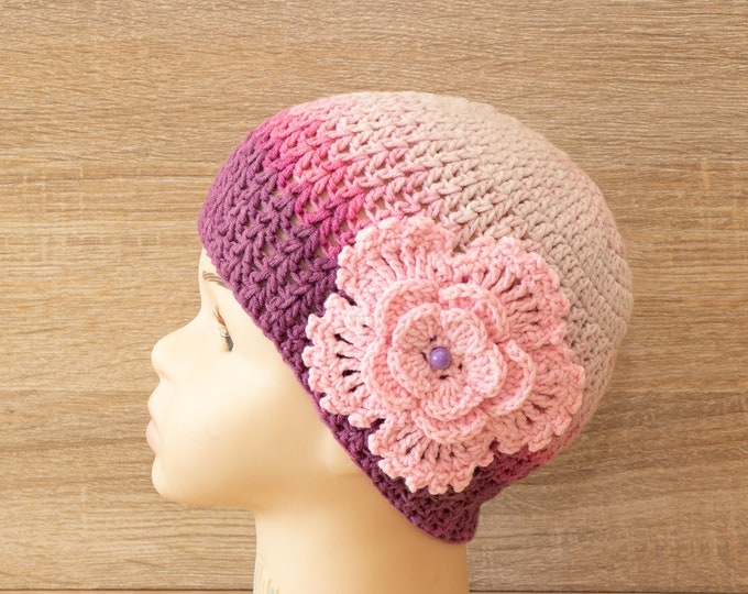 Ready to ship - Baby girl hat - Crochet baby hat - Baby girl beanie - Pink baby girl hat - Flower hat - Baby girl gift - Crochet flower hat