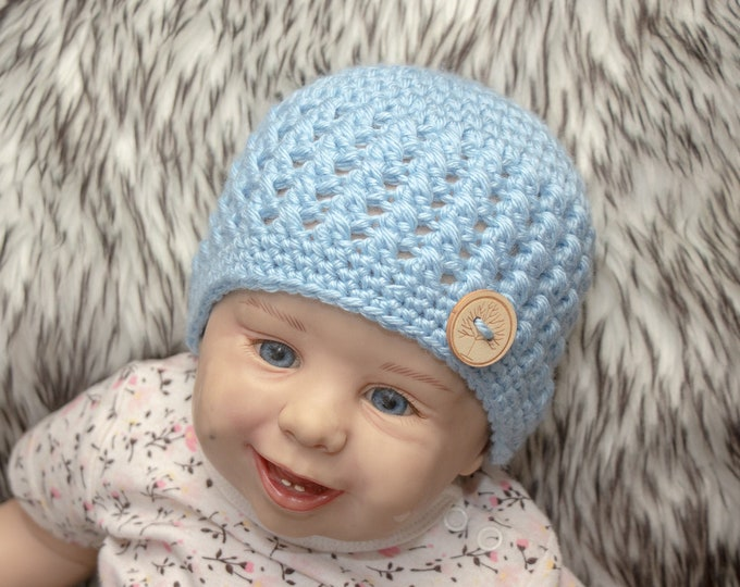 Baby boy hat, Baby boy beanie, Newborn boy hat, Newborn boy beanie, Crochet baby beanie, Baby Button Hat, Blue baby Hat, Preemie boy hat