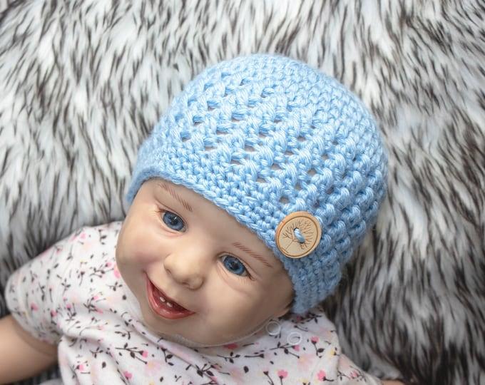 Baby boy hat, Baby boy beanie, Newborn boy hat, Newborn boy beanie, Crochet baby beanie, Baby Button Hat, Blue baby Hat, Preemie boy hat