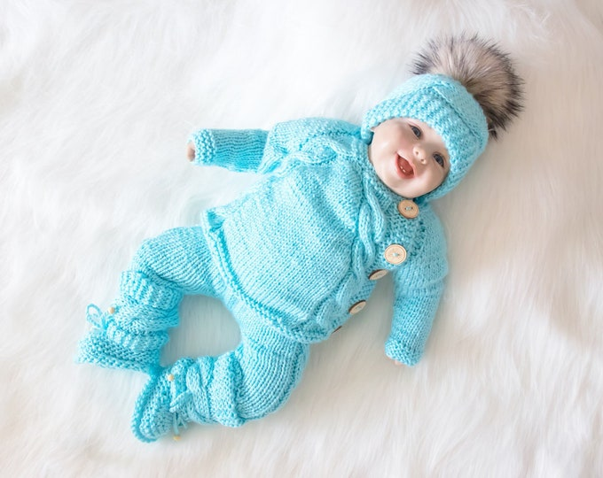 3-6 months Baby boy coming home outfit, Turquoise blue baby outfit, Hand Knit Newborn take home outfit, Baby winter clothes, Ready to ship
