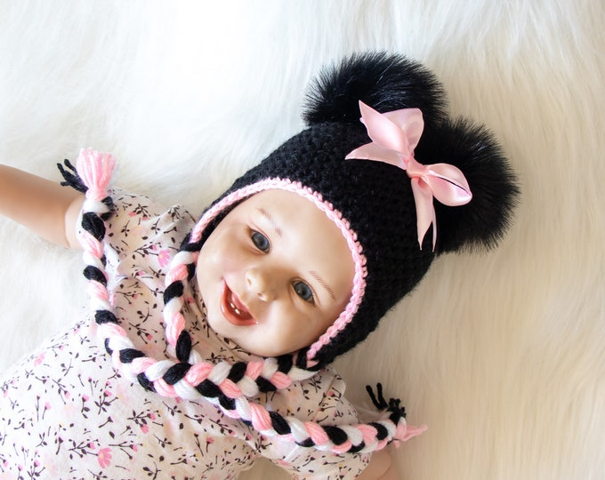 Minnie Mouse hat, Baby girl hat, Disney Mouse hat, Black and pink Baby girl hat, Crochet baby girl earflap hat, Newborn girl photo prop hat
