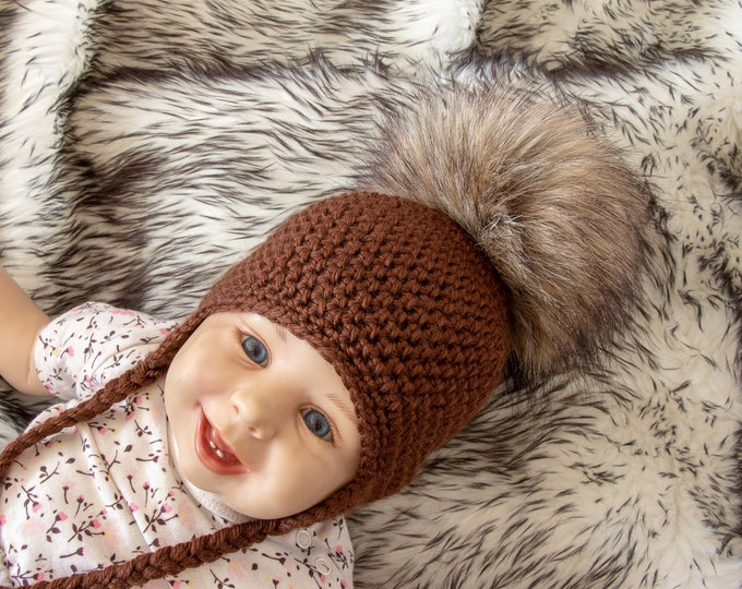 Hat with faux fur Pom pom - Earflap hat - Pom pom baby hat - Kids hat - Crochet hat - Newborn hat - Brown hat - Baby winter hat- Preemie hat