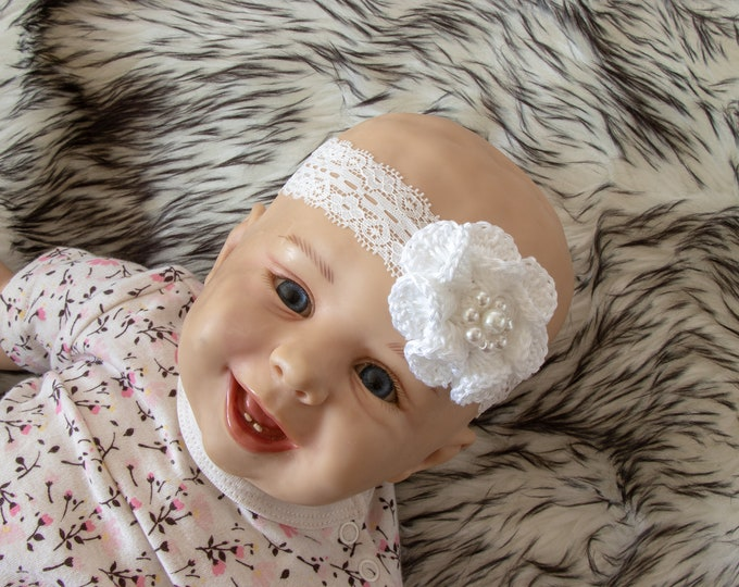 White Baby Girl Headband - Crochet flower headband - Christening - Baptism headband - Infant Headband - Baby shower gift - Newborn headband