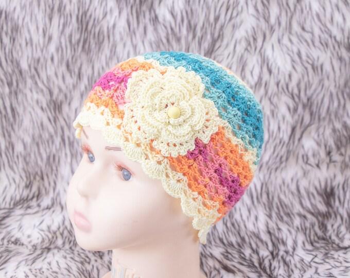Girls summer beanie, Girls flower beanie, Colorful baby hat, Toddler girl hat, Flower hat, Baby Girl Beanie, Crochet girl hat, Ready to ship