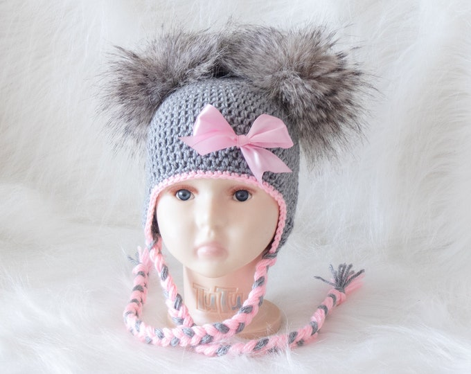 Gray and Pink Double pom hat with bow, Newborn girl hat, Baby girl hat, Baby girl gift, Fur pom hat, Baby girl Winter hat, Toddler girl hat