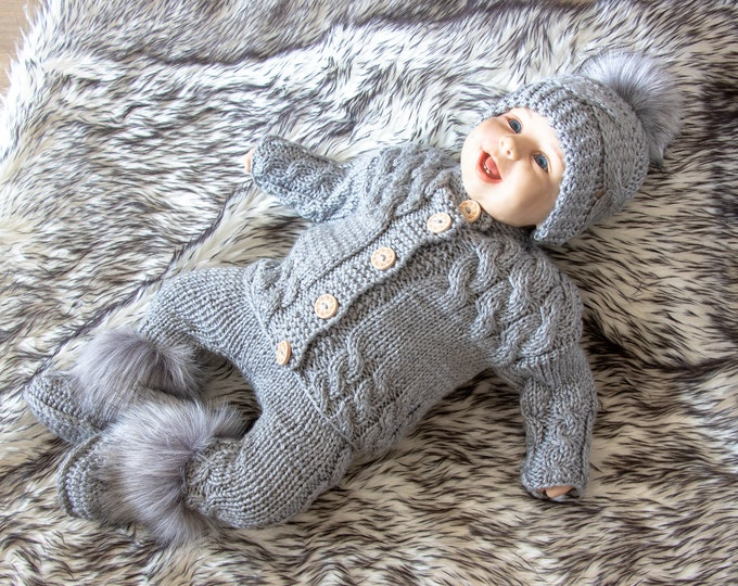 Gray baby home coming outfit - Hand knitted outfit - Newborn outfit - Knitted baby set - Gender neutral baby clothes - Baby boy outfit