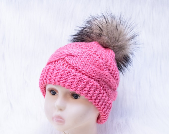 Raspberry pink fur pom pom hat, Women's Hat, Toddler girl hat, Baby winter hat, Knitted winter hat, Newborn girl hat, Teen girl winter hat