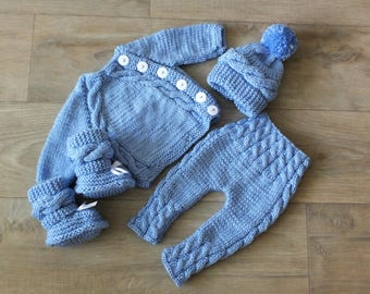 a9f2892f3a654 Knitted Baby boy coming home outfit - Knit Baby Outfit - Knitted baby  clothes - Baby boy take home outfit- Newborn boy gift- Baby boy winter