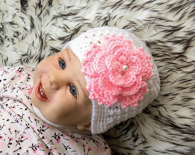 Baby girl hat - Baby flower beanie - Crochet Baby hat - Flower Hat - Newborn hat - Baby Girl Beanie - Baby girl Photo Prop - White baby hat