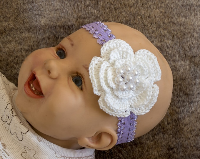 Baby Girl flower Headband - Purple and white - Crochet headband - Baby girl gift- Newborn Headband - Baby shower gift - Purple baby headband