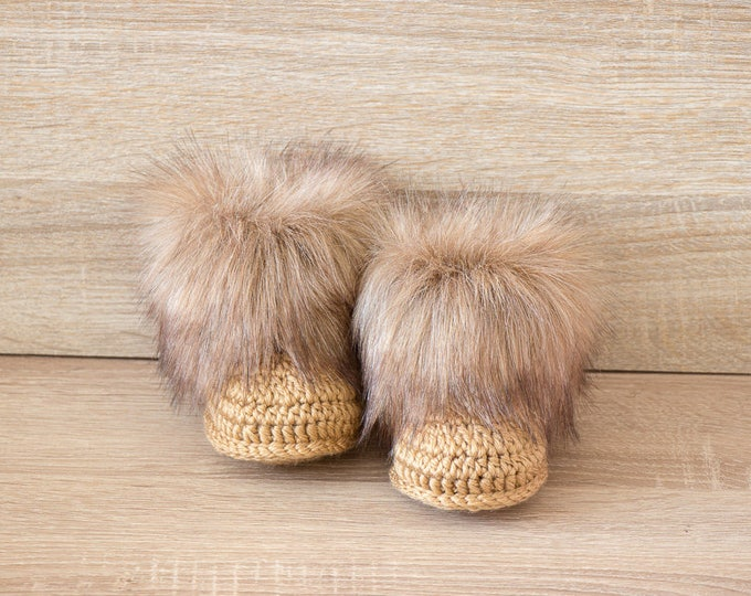 Gender Neutral Faux fur baby boots - Long pile fur baby booties - Gold booties - Baby Uggs - Infant shoes - Baby Photo props - Baby gift