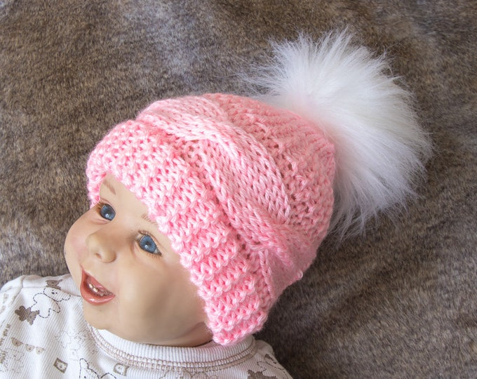 Cable Knit baby girl hat with faux fur pom pom - Pink baby hat - Knitted baby hat - Hand knit Hat - Kids hat - Winter Beanie- Pink and white