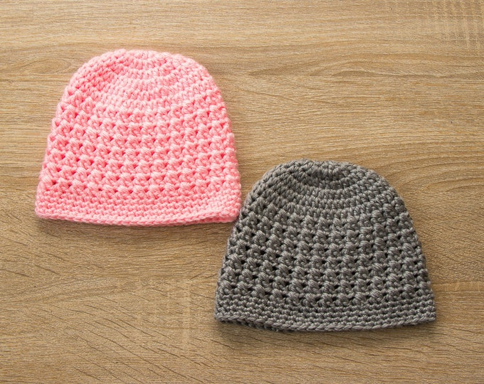 Twin Baby Hats - Boy and girl hats - Pink and gray - Twin hats -  Newborn hats - Twin photo props - Crochet baby Hats - Twin Baby Gifts