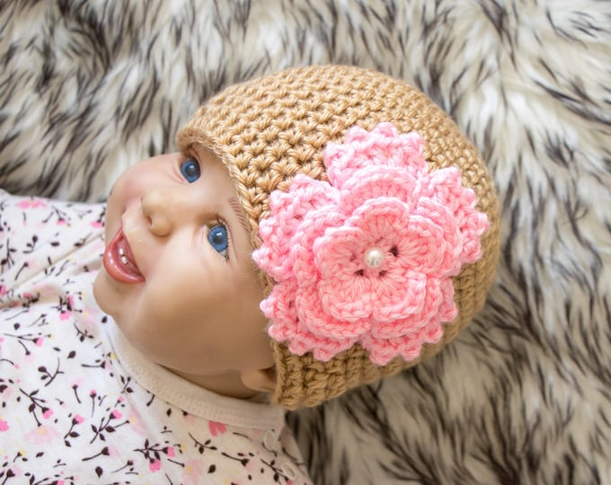 Gold and pink Baby girl flower hat - Newborn flower hat - Crochet baby hat - Baby girl hat- Flower beanie- Baby girl gift- Baby girl clothes