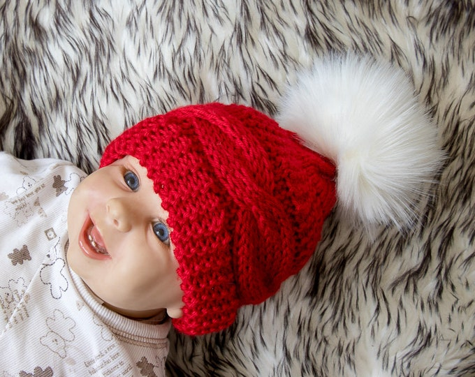 Red Cable Knit baby hat with faux fur pom pom - Baby Christmas photo prop hat - Christmas hat - Baby winter hat - Knitted baby Hat- Kids hat