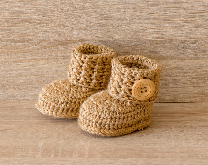 Gender Neutral booties - Crochet baby boots- Unisex baby booties- Gold baby shoes- Newborn shoes- Infant Boots- Boy or girl baby shower gift